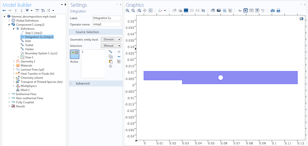 A screenshot of the integration operator in the COMSOL software.