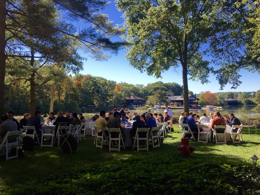 Daily view of lunch on the riverside lawn