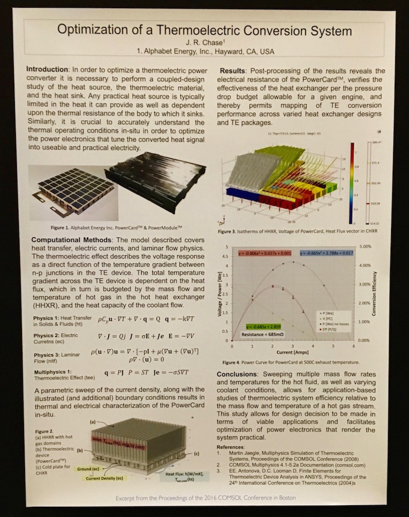 Image depicting a winning poster about thermoelectric devices from the COMSOL Conference 2016 Boston.
