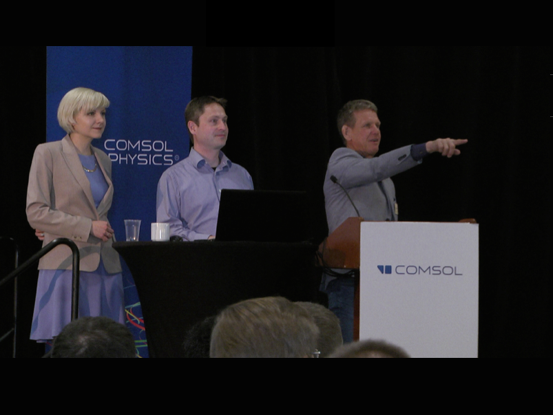 Speakers from COMSOL: Jessica Roy-Mitchell, web manager; Svante Littmarck, CEO and president; and Bjorn Sjodin, VP of product management