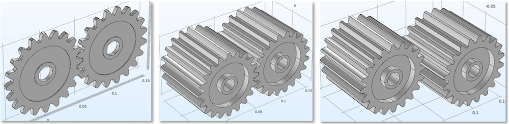 Three figures displaying thin gears, thick gears, and thick gears that have an axial offset.