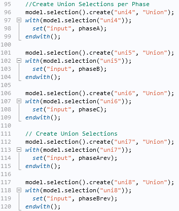 Screenshot of the code for creating union selections.