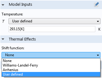 Screenshot depicting the User defined option in COMSOL Multiphysics.