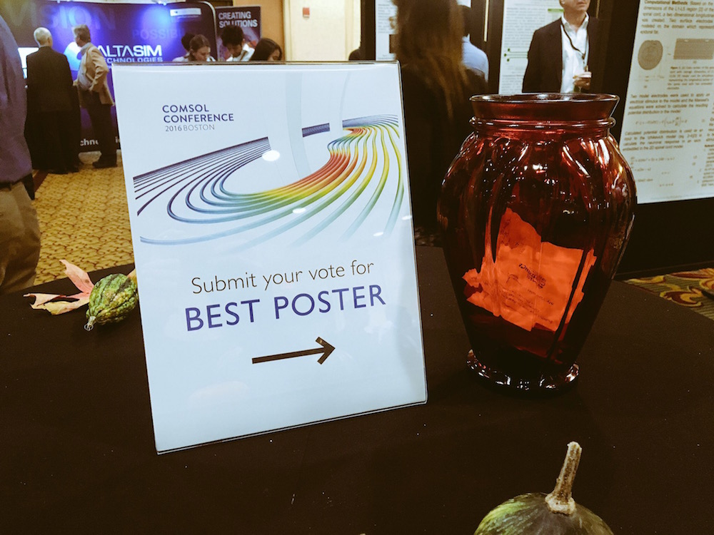 Picture displaying the process of voting for the Popular Choice Best Poster at the COMSOL Conference 2016 Boston.