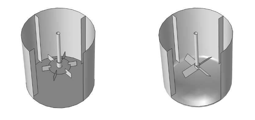 Two completed mixer geometries in COMSOL Multiphysics.