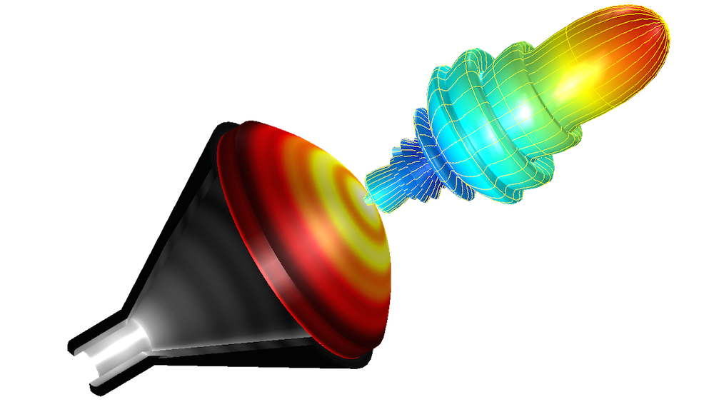 Figure depicting a conical horn lens antenna simulation.