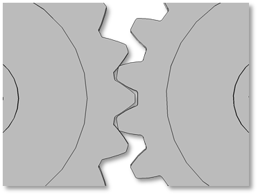Visual depicting gears with different pressure angles.