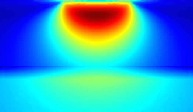 Simulation of fatigue prediction in a surface-hardened material.