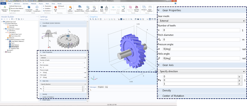 Screen capture depicting a helical gear's settings window and available inputs.