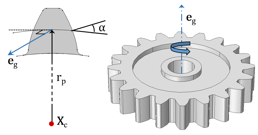 Figures showing a Spur Gear with its external gear mesh.