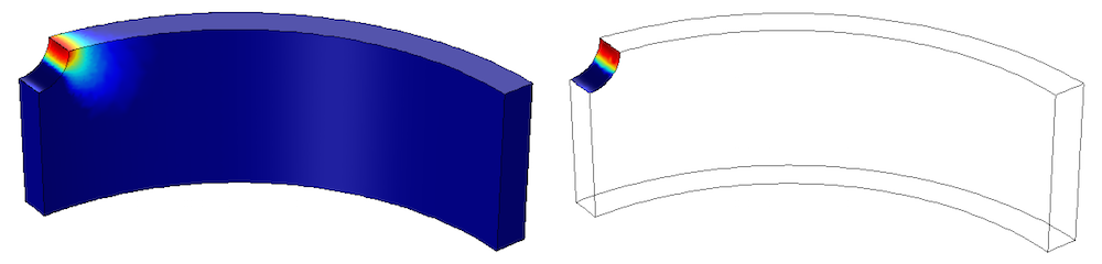 Side-by-side images showing low-cycle fatigue in a cylinder with a hole.