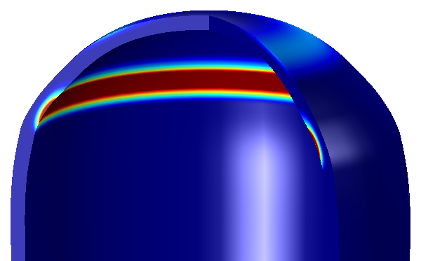 Simulation showing plastic deformation in a pressure vessel.