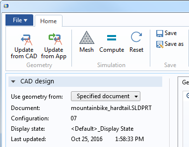 Screenshot depicting the CAD design settings section.