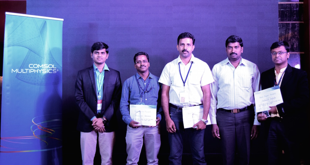 Photo depicting the program chair and award winners from the COMSOL Conference 2016 Bangalore.