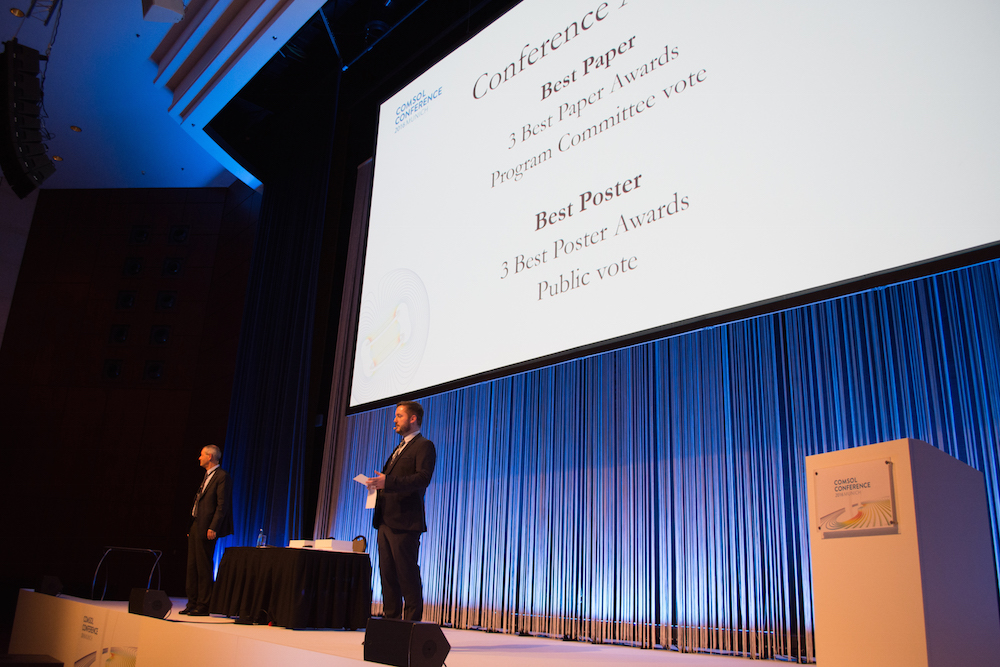 A photo from the awards ceremony at the COMSOL Conference 2016 Munich.