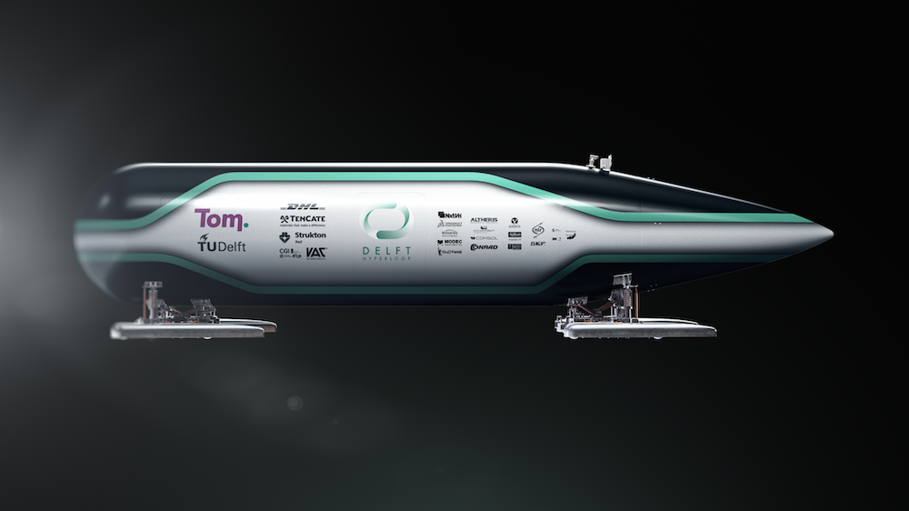 Image displaying a rendering of the competition vehicle by Delft Hyperloop.