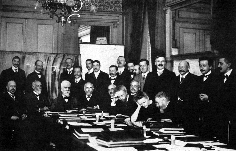 Image showing Marie Curie and other scientists at the Solvay conference.