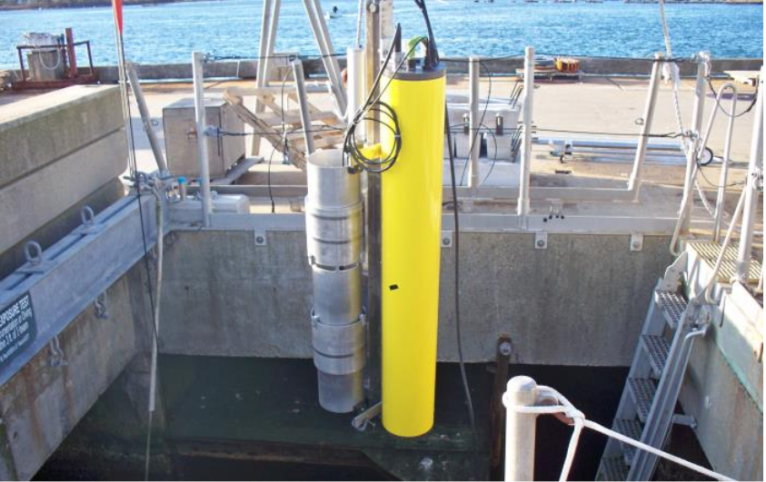 An image showing the sound source system being tested at the Woods Hole Oceanographic Institute.
