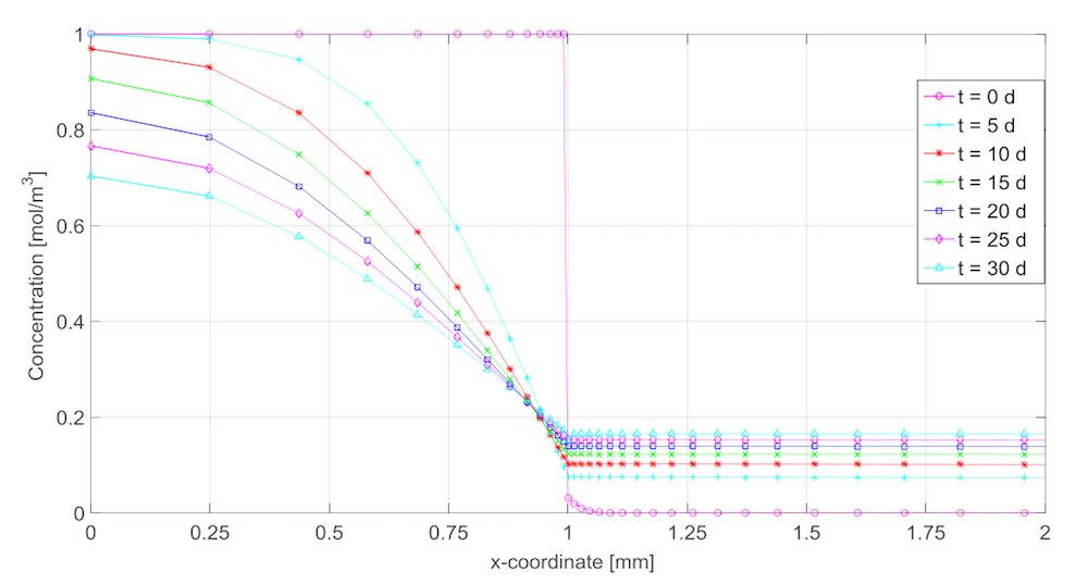 A plot showing the time-dependent concentration profiles for a single-layer packaging.