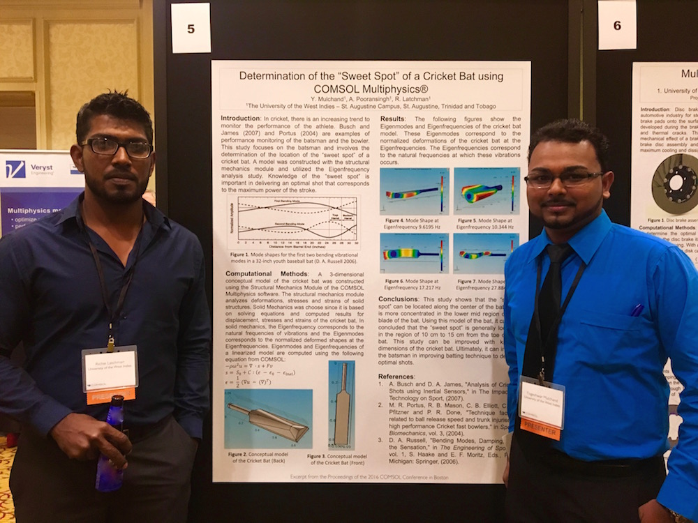 Richie Latchman and Yogeshwar Mulchand in front of their poster at the COMSOL Conference 2016 Boston.