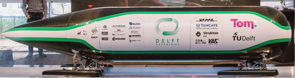 Photograph depicting Delft Hyperloop's realized competition vehicle.