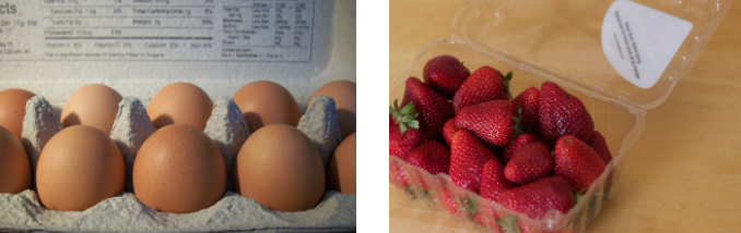 Photos highlighting two different examples of food packaging.