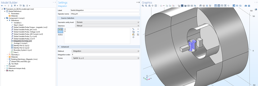 Screenshot showing the integration of the rotor's permanent magnet in COMSOL Multiphysics.
