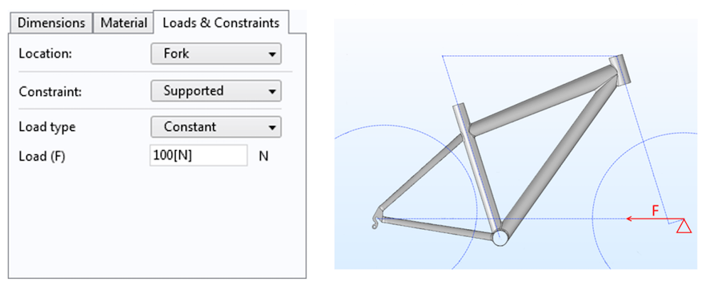 Settings for the load and constraint on the fork in the simulation app.