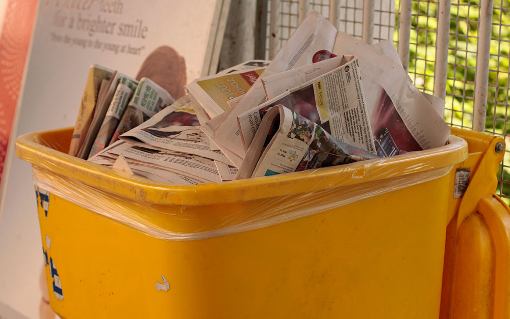 Photo of recycled newspapers, which can contain traces of mineral oil hydrocarbons.