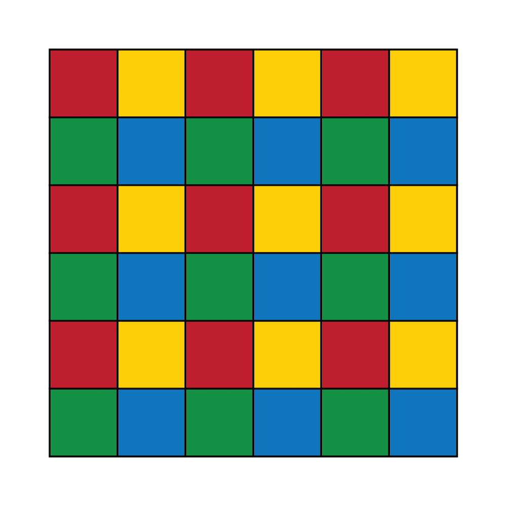 An image highlighting the subdomain coloring mechanism used for multiplicative Schwarz-type domain decomposition preconditioning.