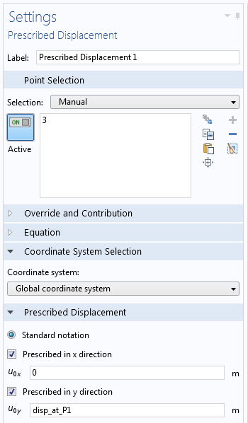 Screenshot of a COMSOL Multiphysics settings window.