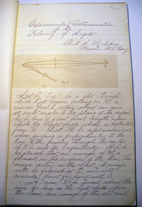 A photograph of Alfred A. Michelson's notes on the velocity of light.