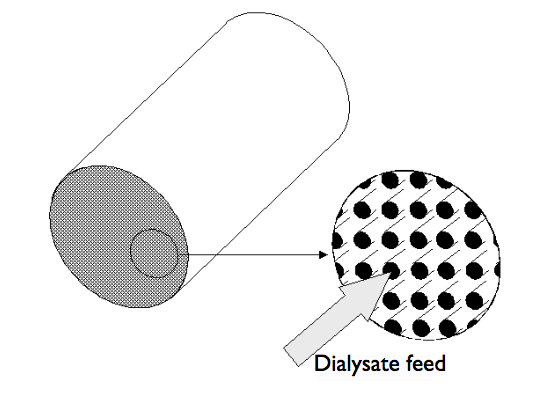 A schematic of a hollow-fiber assembly for a membrane dialysis device.