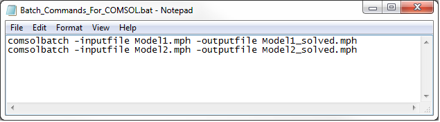 Example of input commands for running COMSOL Multiphysics simulations in Batch mode.