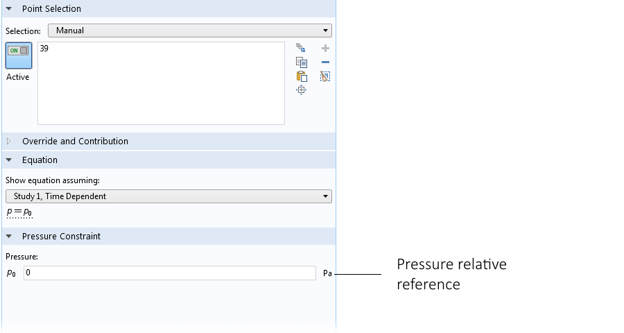 Screenshot showing the pressure point constraint settings in COMSOL Multiphysics.