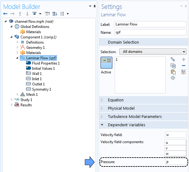 The COMSOL Multiphysics settings window for dependent variables.