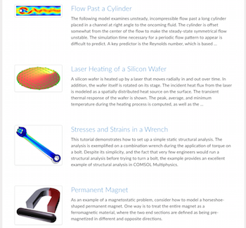 COMSOL Application Gallery page featured