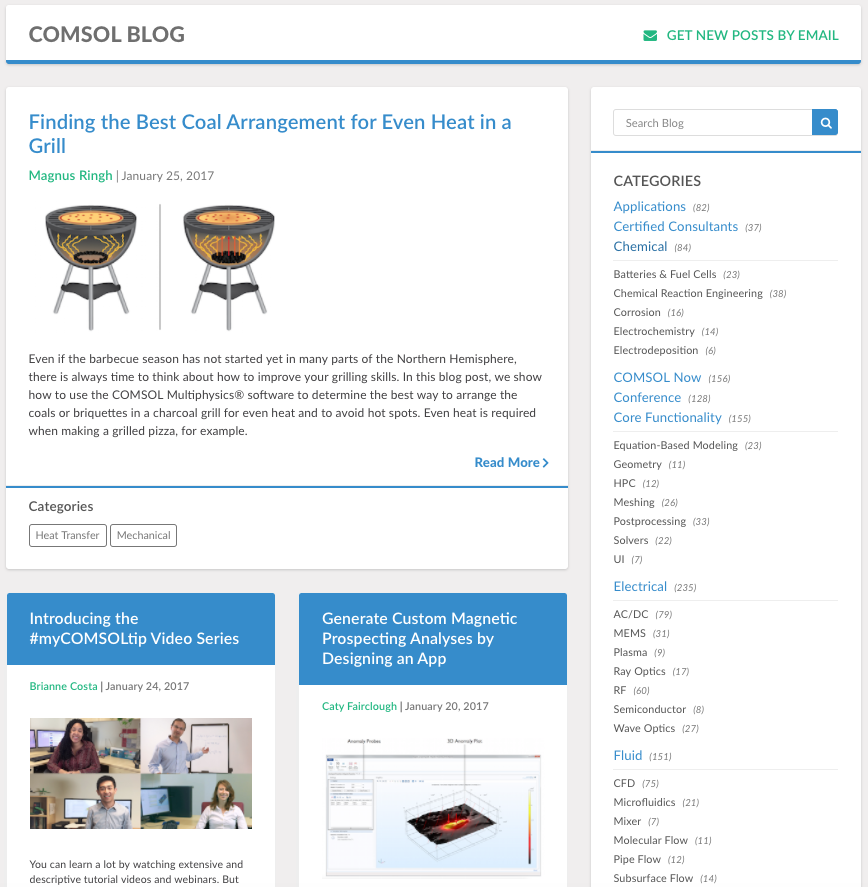 A screenshot of the COMSOL Blog feed.