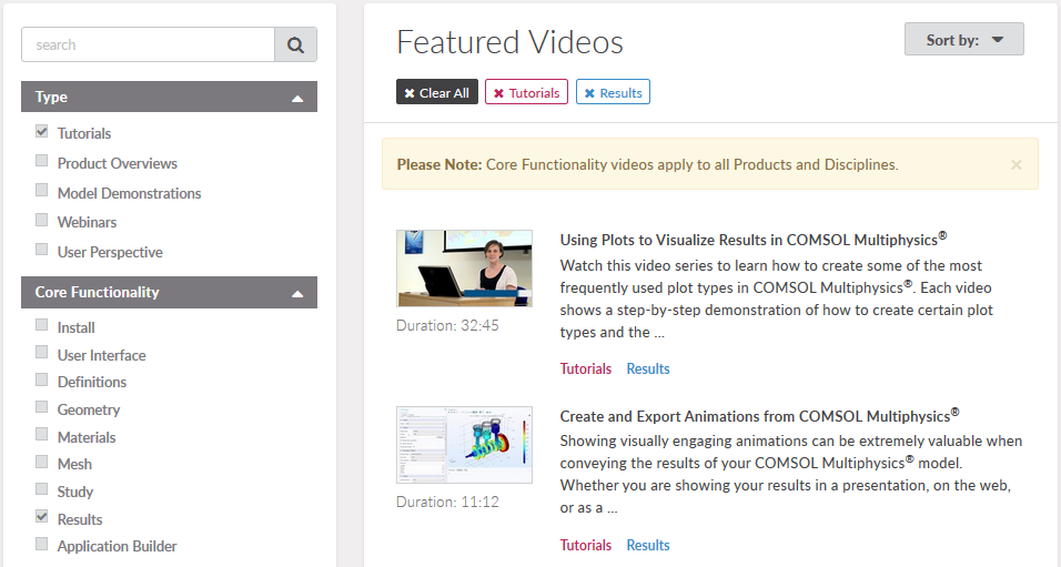 A screen capture showing the COMSOL Video Gallery, with tutorial videos on postprocessing in COMSOL Multiphysics®.
