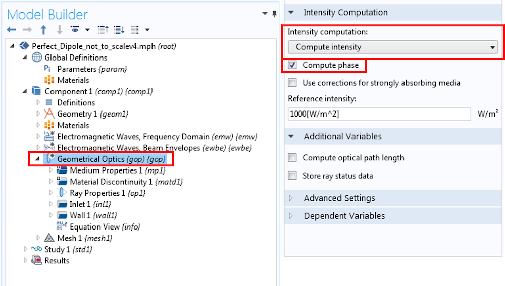 Screenshot of the settings for the Geometrical Optics interface in COMSOL Multiphysics.