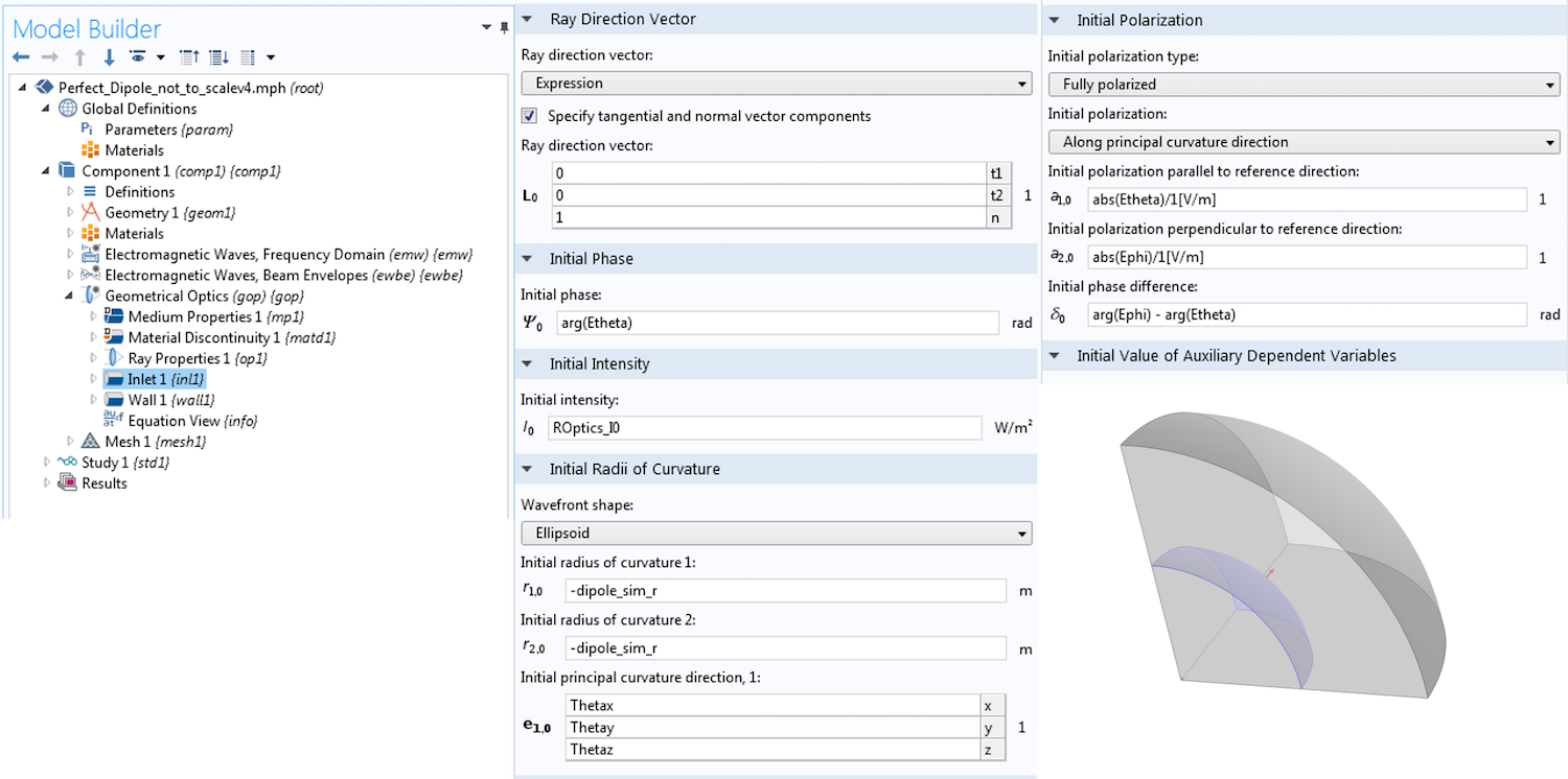 Screenshot showing the Inlet boundary condition settings in COMSOL Multiphysics.