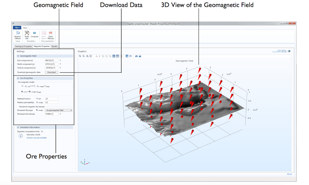 A graphic showing the Magnetic Properties tab in the Magnetic Prospecting app, built using the Application Builder in COMSOL Multiphysics®.