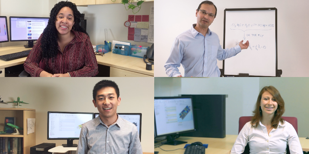 Collage of COMSOL employees featured in the myCOMSOLtip video series.