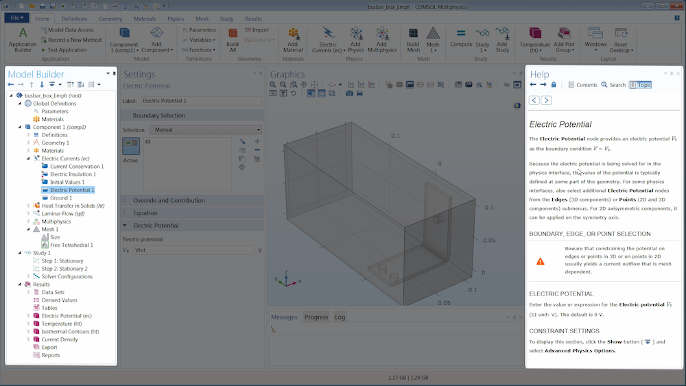 An image showing the Help window, one of the many help tools in COMSOL Multiphysics®.