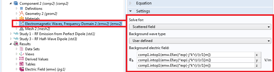 COMSOL Multiphysics settings window showing the background field settings.