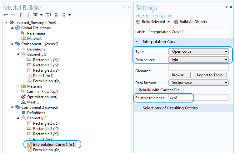 Annotated screenshot of the settings window for the interpolation curve options in COMSOL Multiphysics.