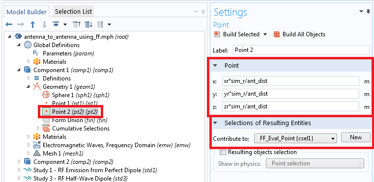 COMSOL Multiphysics settings window for the scattering amplitude evaluation point.