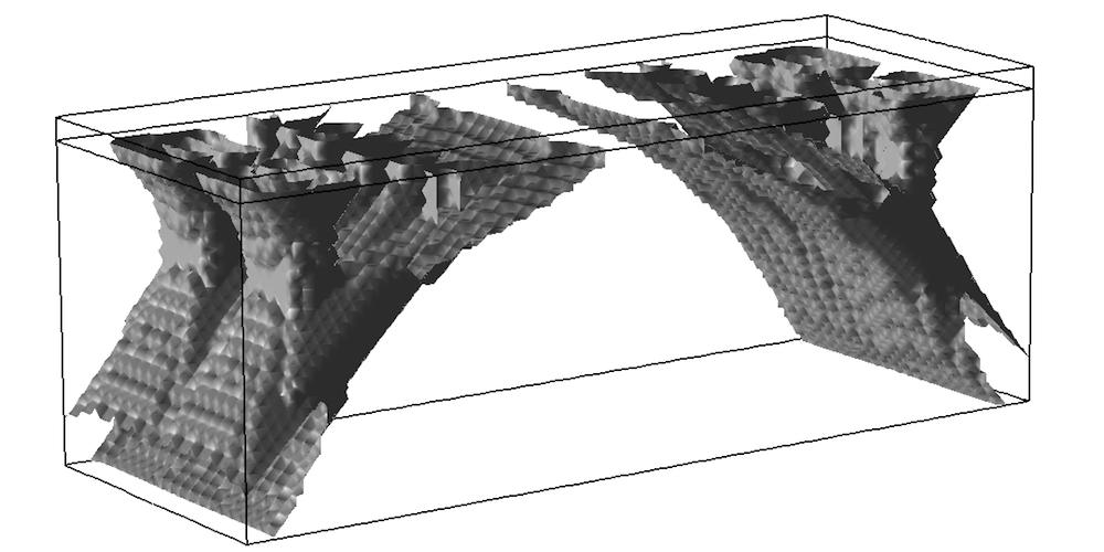 A 3D topology optimization isosurface plot for a bridge.