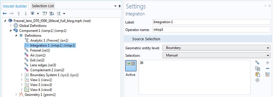 屏幕截图显示了 COMSOL Multiphysics中的 Integration 1 设置。