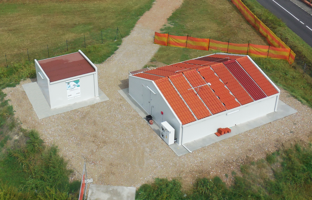 A photograph of a roof tile testing site in Italy.